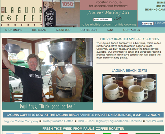 Laguna Coffee website - before image - website tips